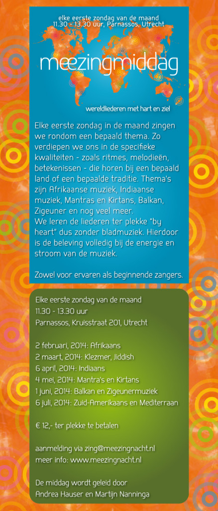2 februari: Open Workshop Afrikaanse liederen  in Utrecht